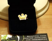 SALE - YELLOW AND WHITE Mini Crown Ring