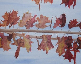 Autumn Oak, Original Acrylic painting by Sharon James