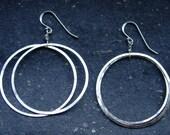 Large Double Hammered Hoop Earrings