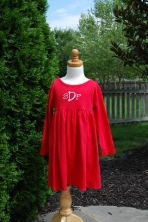 Monogrammed Long Sleeve Empire Waist Dress