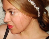 Madison Rhinestone Headband- Tie On, halo, satin ribbon