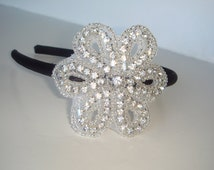 Rhinestone Headband, Headband, Flower Headband-Posey, Flower Girl, headband, hair acccessory, rhinestone flower headband, bridal accessories