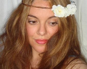 Headband, Halo Headband, Summer, Flower Crown, Flower Headband- SIENNA, Headband, Accessories, Spring, Bridal,  White flowers, Bohemian
