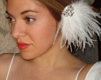 Wedding Headpiece, Weddings,Feather Hair Clip, Wedding Headband, Bridal Headpiece, Accessories, Facinator, White Feathers- AVA