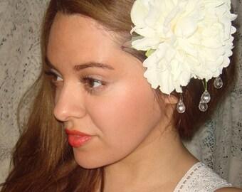 Bridal Headpiece, Wedding,  Wedding Headpiece, Bridal, Hair Clip, White Flower,  Accessories, Crystal Headband- Midsummers Dream