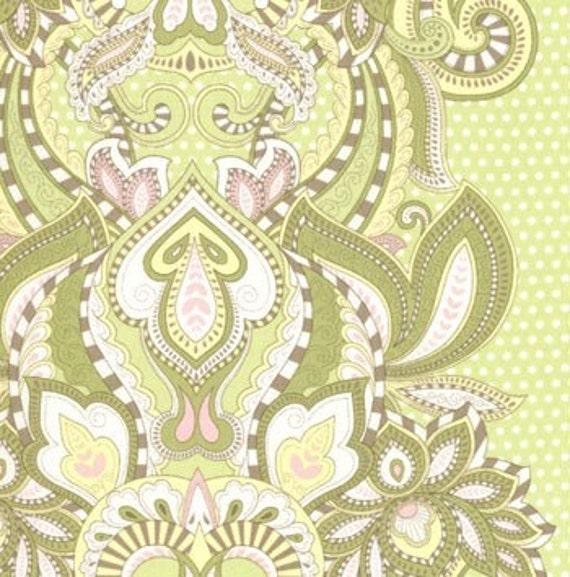 MODA FABRIC, HUSHABYE Designed  By Tula Pink,   Owl Stripe in Sage,  Moda