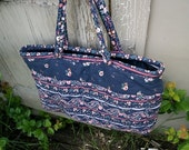 Oversized Quilted Navy Blue Floral Purse
