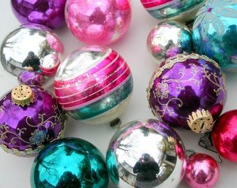 Vintage Glass Ghristmas Tree Ornaments - Jewel Tone