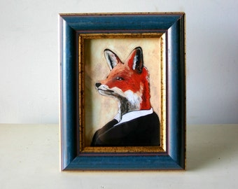 Reserved for hybridbloom  - Custom Tesla As A Fox - Framed 5x7 Captaincat Original Art Print