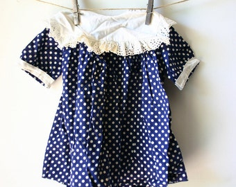 Vintage 1950's Little Girls Blue Polka Dot Dress