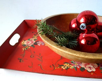 1940s Hand Painted Festive Metal Serving Tray