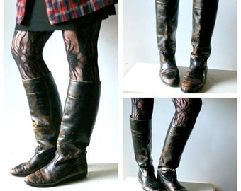 Gorgeous Patina Leather Equestrian Riding Boots
