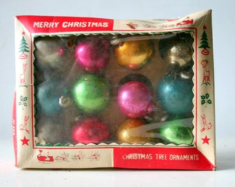 1950's Glass Christmas Ornaments In Original Box