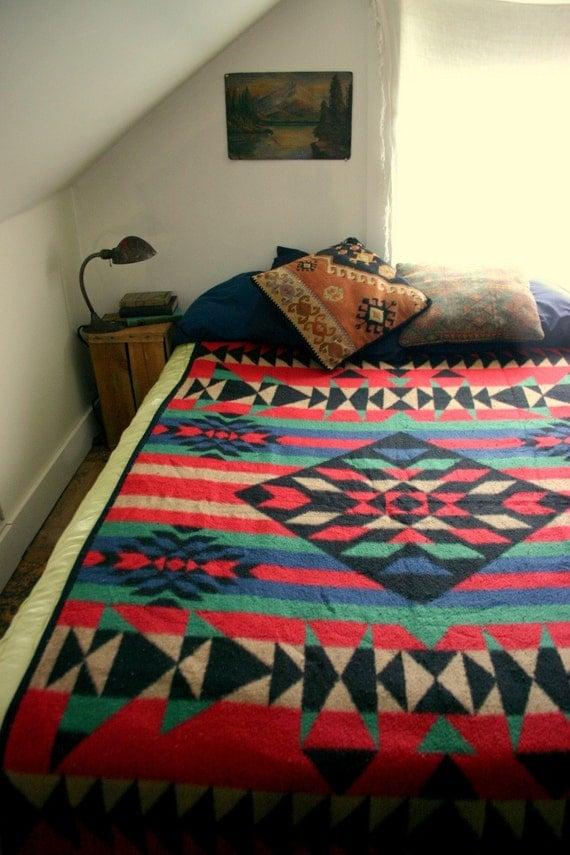Vintage Pendleton Style Fleece Blanket By Psychicceremonies