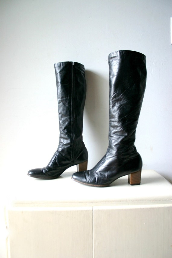 Vintage Black Leather Fashion Boots