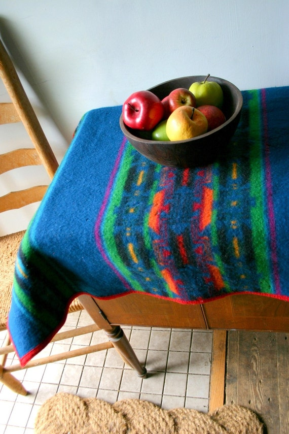 Vintage Bright Navajo Pendleton Wool Crib  Blanket