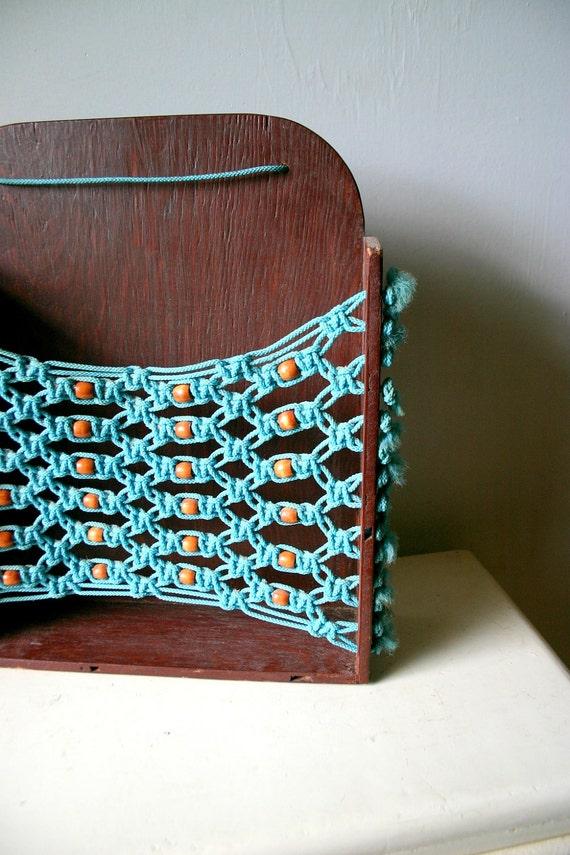 Vintage Teal And Brown Hammock Shelf