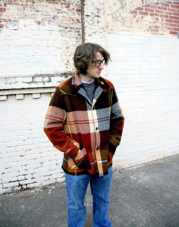 Vintage 1970s Pendleton Style Mens Wool Plaid Coat