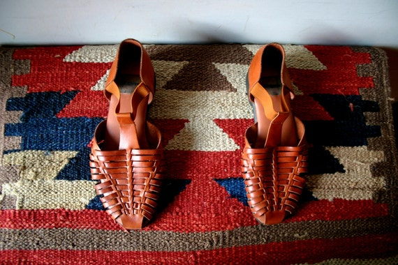 RESERVED For Mary -Vintage South West Leather Sandals