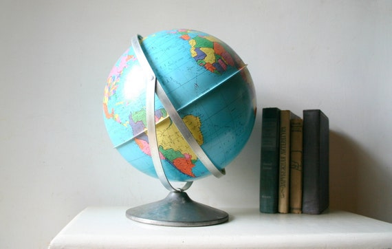 Reserved for YUKA - Vintage 1960s Industrial Metal Globe