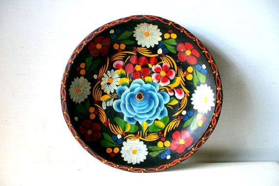 fabulous rustic hand painted mexican wooden plate.
