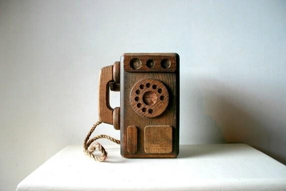 Vintage Handmade Wooden Telephone