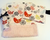 Baby Girl Gift Set - Security Blanket, Burp Cloth, Wash Cloth in Alexander Henry Starling Designer Cotton Print with Pink Satin and Chenille