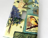 Spring collage bird switch plate