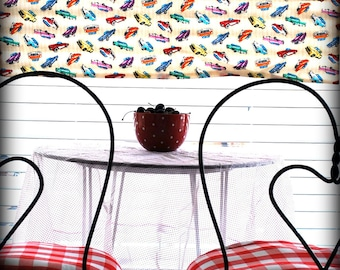 Hot Rods & Polka Dots.....Retro Kitish 1950s Style Curtain Panel....Treasure Worthy