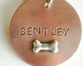 Handmade CHEWIE Metal Pet Tag - in FOUR Sizes - Copper and Sterling - Tags for Dogs - Dog Tags