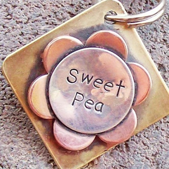 Sweet Pea Sterling Silver, Copper and Brass Pet Tag