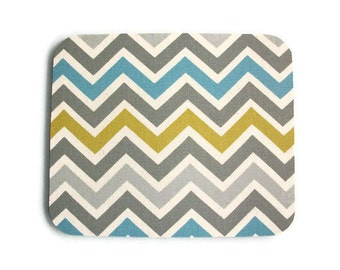 Mouse Pad mousepad / Mat - Rectangle or round -  Summerland Chevron - Zig zag - blue, gray, green