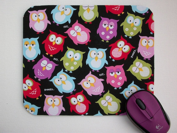 Mouse Pad mousepad / Mat - Sleepy owls - round or rectangle