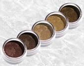 Brown Eyeliner Set SUNLIT TAN Eye Shadow Liner burgundy plum beige tan Matte eyeshadow sample set kit Makeup Cosmetics TiaraLx Minerals