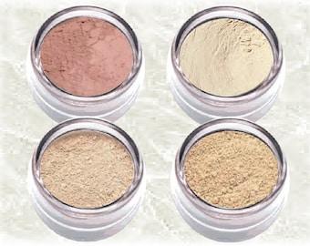 Mineral Foundation Kit FAIR & FAIREST LIGHT Natural bare makeup oowder cosmetics Set matte blush Veil TiaraLx