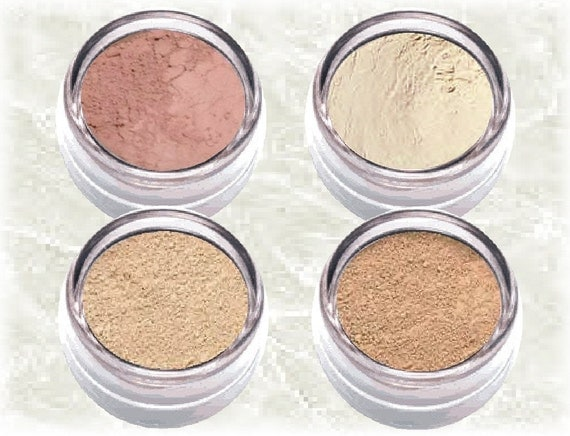 Mineral Makeup kit BEIGE & WARM BEIGE matte Foundation Coverage Finishing Veil Blush Set Natural bare look Circle red spot cover TiaraLx