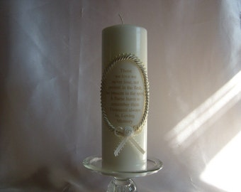 Memory Candle to honor those you Love / Ivory Pillar Candle / Memorial Verse