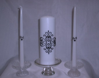 Black Damask Unity Candle with Tapers