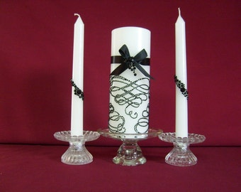 Unity Candle, pillar candle,black crystal swirls ,black ribbon  and bows,with tapers to match