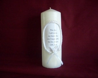 "Wedding logo  candle the phrase ""This day I will marry my friend"" with pearls and roping"