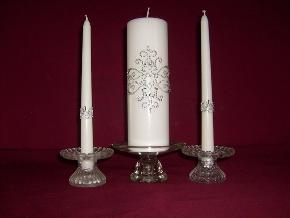 """Silver Damask Unity Candle with Tapers """"FREE SHIPPING"""""""