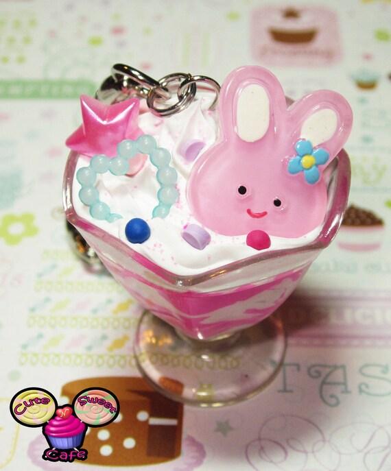 Cute Girly Bunny Deco Sundae Keychain
