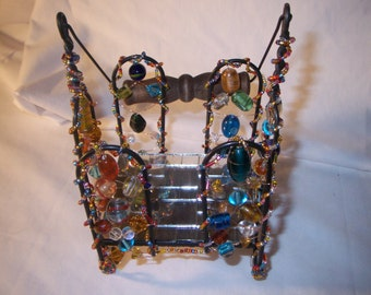 Beautiful and Unique Bejeweled Candle Holder  FREE SHIPPING FREE CANDLES