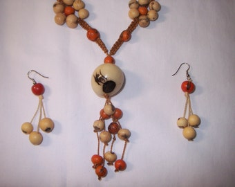 Seed Pod Necklace and Earring Set   FREE SHIPPING