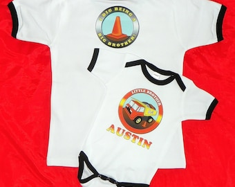 Big Brother Little Brother Dump Truck Shirt Set With Work Zone Cone & Caption Printed on Back.  Contruction Brothers Shirt. New Baby Gift