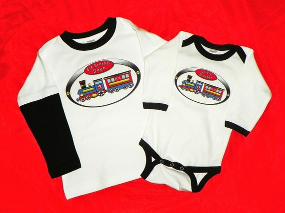 Big Brother Little Brother Train Shirt Set With Railroad Crossing Sign Printed on Back. New Baby. Brother Shirts. Long Sleeve. Can Customize