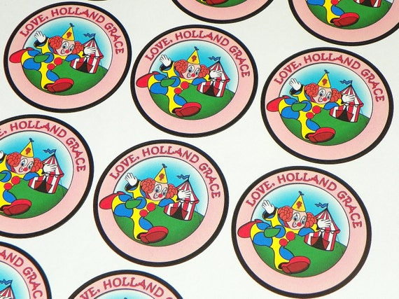 Carnival Stickers Circus Clown Themed Stickers Party Favors. Carvinal Birthday. Circus Party. Can Customize