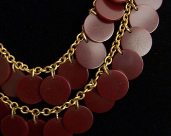 Exotic Bakelite Disks Dangles Necklace OOAK Authentic 30s Vintage Necklace Genuine Claret Maroon True Bakelite from FavoriteCollectibles