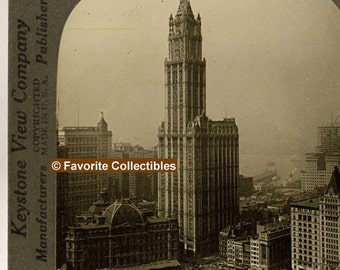 1914 Era 3-D Stereoview Card Woolworth Building Landmark Antique Photograph from FavoriteCollectibles