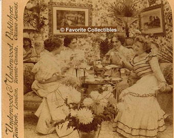 Stereoview Victorian Party Girls 3D Photo Card 1899 Tea Party Gossip Stereograph 3D Photo Amazing Antique from FavoriteCollectibles